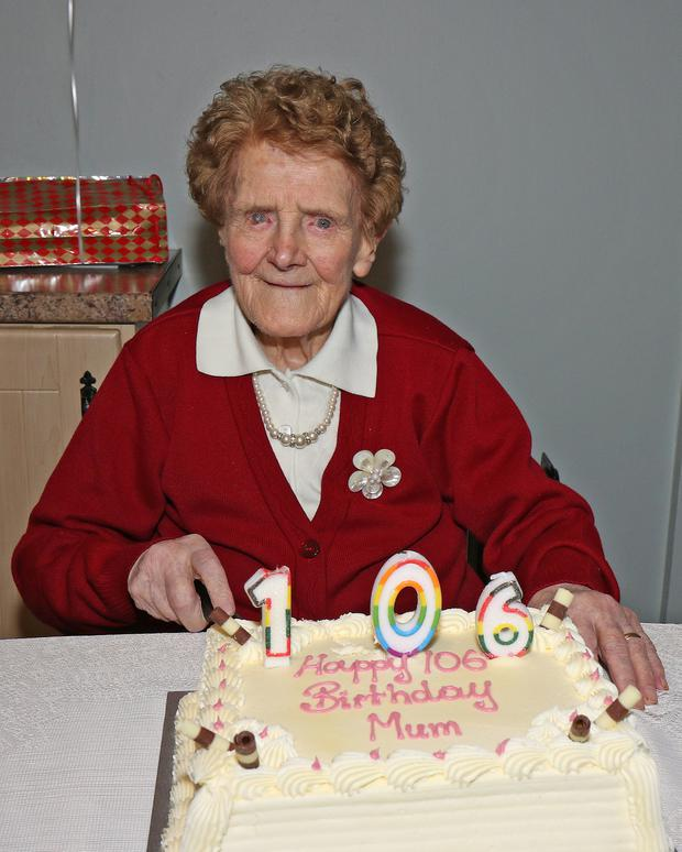 Lizzie Byrne, Castlelands, Ferns pictured at her 106th birthday party