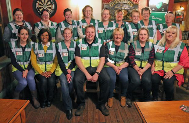 In the picture are members of the CFR group Oulart-the-Ballagh during their premiere in The Sawdust lnn, The Ballagh