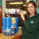 Courtown Seal Rescue executive director Melanie Croce with Ecobricks that have been turned into a stool