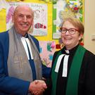 Guest speaker, Rev Billy Davison with Rev Katherine Kehoe at the 'Remembrance Songs of Praise' at Gorey Methodist Church