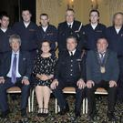 Members of the Gorey Unit, back row: James Tighe, Sean Willoughby, Stephen Boland, Celestine Swords, Bill Nolan and Manuel Gardenes. Front row: John Carley (Director of Services, Wexford County Council), Roisin McGuire (Civil Defence College Principal), Peter O'Connor (Chief Officer), and Cllr Keith Doyle (Chairman, Wexford County Council)