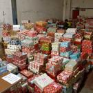 Some of the shoe boxes collected this year, at the Celtic Linen warehouse awaiting dispatch to the Congo and Albania