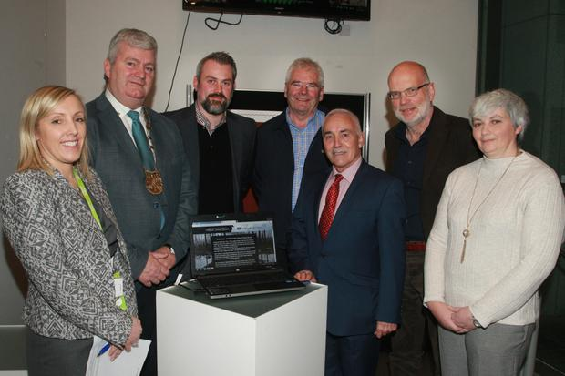 County librarian, Eileen Morrissey; acting Cathlaoirlach Wexford County Council, Cllr Paddy Kavanagh; Dr Joseph Quinn, UCD; Cllr Pip Breen, Hugh McShane, guest speaker; Peter O'Connor, chairman North Wexford Historical Society; and Susan Kelly, librarian local studies