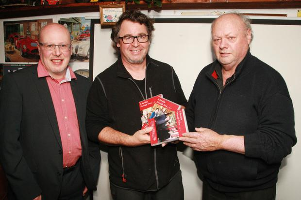 Cllr Fionntán Ó Súilleabháin, who launched the DVDs; filmmaker Michael Fortune and Fr Donal Berney