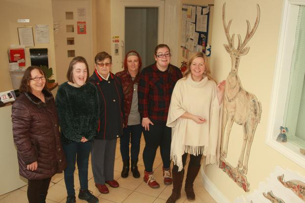 Mary Walsh with her daughter Laura Walsh, Eileen Kennedy, Bridget Nolan with her daughter Mykalla Nolan and artist Mairead Stafford