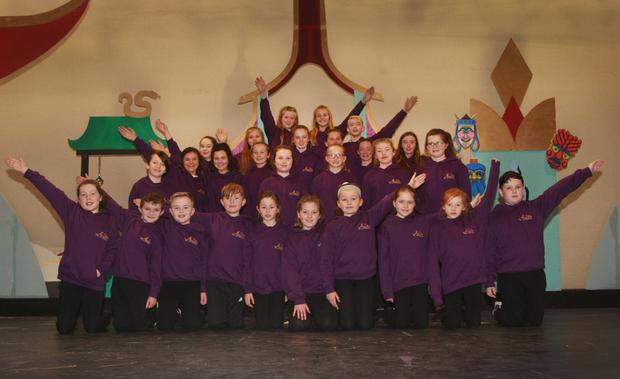 Young members of the chorus rehearsing for Gorey Little Theatre's production of Aladdin