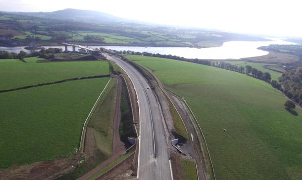 Under construction: An aerial view of the New Ross bypass looking towards the new bridge