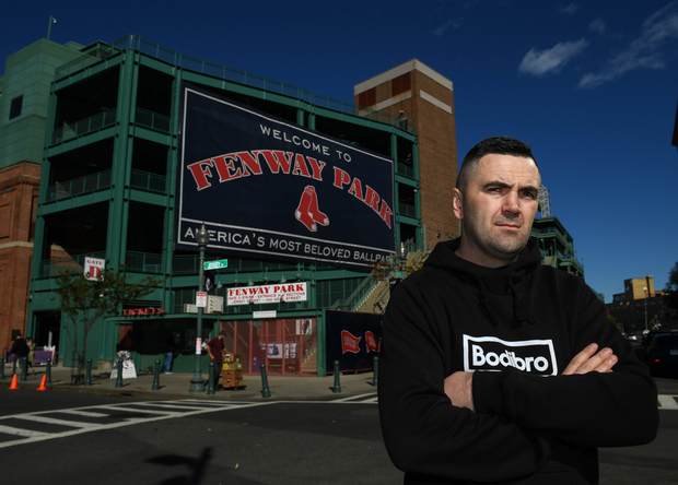Niall 'Basil' Kennedy outside Fenway Park, home of the Boston Red Sox, last October
