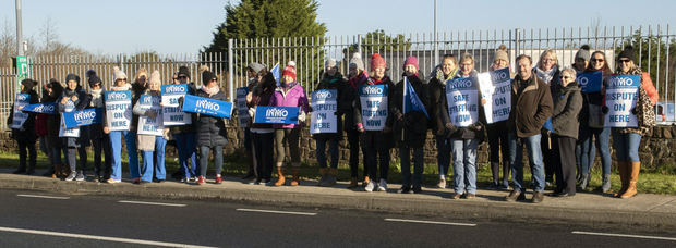 Some of the nurses on picket duty at Wexford General Hospital