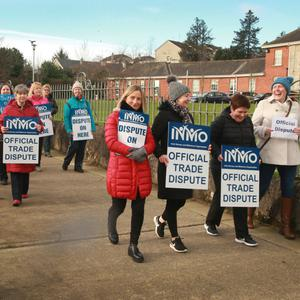 Nurses picketing outside Gorey and District Hospital