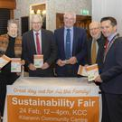 Cllr Malcolm Byrne, Karen Finigan, Cllr Joe Sullivan, Cllr Pip Breen, Cllr Fionntán Ó Súilleabháin and chairman Cllr John Hegarty at the launch of the sustainability fair last week