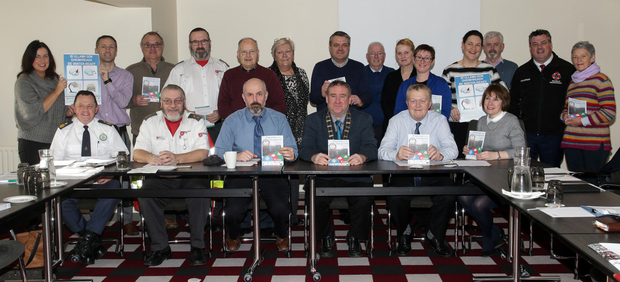 The launch of the 'Preparing for the Unexpected' booklet by Wexford County Council in The Maldron Hotel. Included in the picture are Wexford County Council Chairman, Keith Doyle, Ger Mackey, chief officer, LCDC, and members of various organisations: the Red Cross, Order of Malta, Ambulance Service, Fire Service, Wexford County Council, IFA, Civil Defence, Garda, HSE, GAA, MarineWatch, St Vincent De Paul, St Bridget's Day Care Centre and MuintirNa Tire