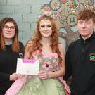 Coláiste an Átha's Rebecca Connor (centre) with her Jolie Petite Fleur entry, with Kayla James and Martin Hammel of the design team