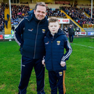 Davy Fitzgerald with young Michael O'Brien from Kerry at Innovate Wexford Park on Sunday. The pair met on The Late Late Toy Show in December