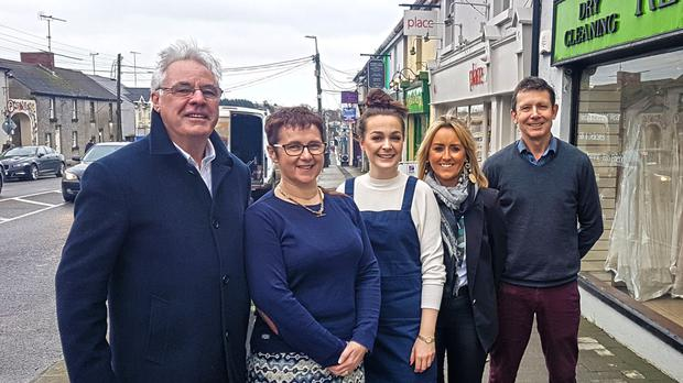 Diarmuid Devereux, CEO of Gorey Chamber, with Maria Noctor, Apryl Brennan, Sinead O'Sullivan and Stephen Redmond