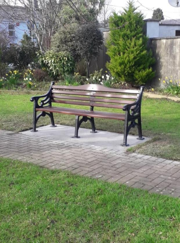 One of the seats installed on the green area at Wexford Street