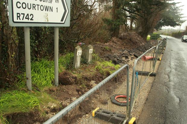 Works on the footpath at Courtown Road