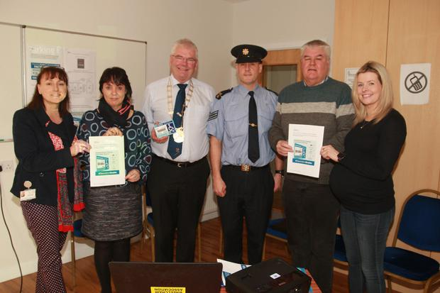 Caroline Horan, access officer, Wexford County Council; Liz Stanley, Wexford County Council; Cllr Pip Breen, Sgt Kevin Bolger, roads policing unit, Cllr Johnny Mythen and Selina Power, service support officer, Irish Wheelchair Association