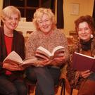 Carol Boland, Lucinda Nolan and Polly Chapman at the launch of the Hollyfort Book Club at the Old School in Hollyfort