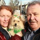 Charlie and Elizabeth Kelly with their dog, Papalups