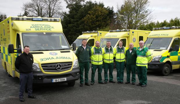 Assistant Chief Ambulance Officer South East Anthony Byrne, Advanced Paramedic Cllr Ger Carthy, Richard Doyle, Liam O'Neill, Olivia Harte, Michael Dixon and Oliver Martin with a brand new ambulance at Wexford General Hospital