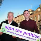 Local election candidates Diarmuid Devereux and Cllr Anthony Donohoe with their petition to save the Market House plans