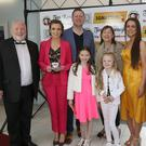 Liam Doyle, Lorraine, Fintan, Mary and Jennifer Kelly, Sheelagh and Gemma Delaney and Paul O'Reilly at Fintan Kelly's short movie 'Ignatius' premiere in The Presentation Centre