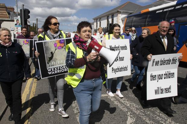 Protesters heading towards the quay to highlight the crisis within child and adolescent mental health services (CAMHS) in Wexford