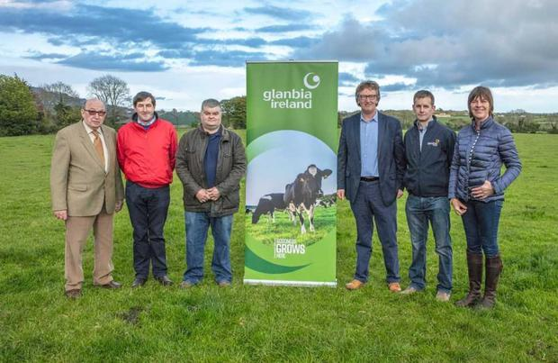 Lorcan Allen, President of Gorey Agricultural Show; David Grandy, Treasurer; Willie Cecil, Chairman; John Murphy, Vice Chairman, Glanbia; Lesley Rothwell, Glanbia and Stella Jones, Show Secretary