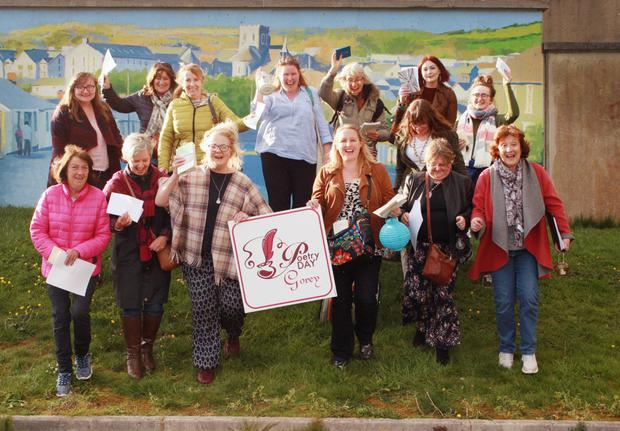 Participants in the Poetry Day event at Gorey Civic Square