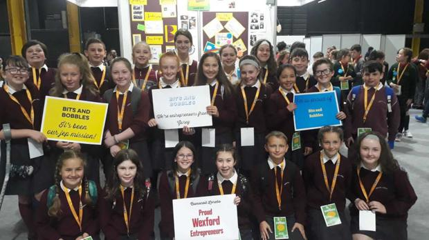 Ms Traynor's class who worked on their company Bits and Bobbles together and presented at the junior entrepreneur showcase in the RDS in Dublin last month