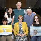 Overall winners Owen Crosbie, Kilmore NS (primary school), and Ciara Sharp, Gorey Community School (secondary school), with Cliona Connolly, Bruce Walker, Don Conroy and Cllr Barbara-Anne Murphy