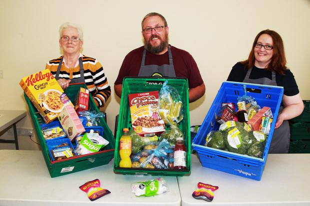 Mary O'Hara, Anthony Dwyer and Ruth Redmond at the Stop Gap food bank at The Heath, Ramsgate Village