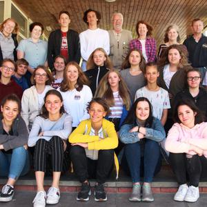 German students who are staying in Gorey for the next month, at Gorey Community School with leader Lea Rathmann, group leader Ulf Brix (centre, back row), caretaker Martin Bolger and leader Elisa Holst
