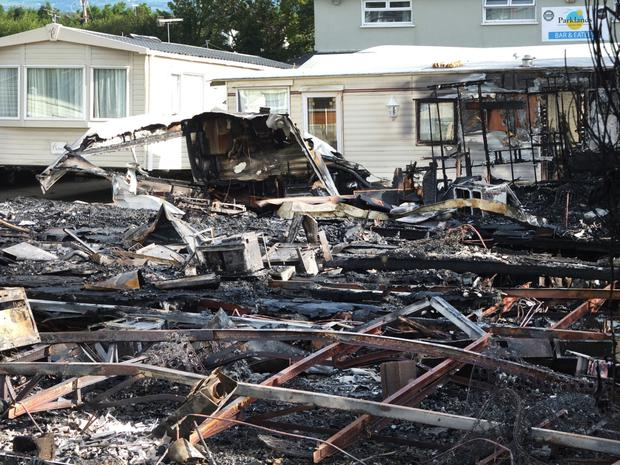 The aftermath of the blaze at Parklands                       Holiday Park