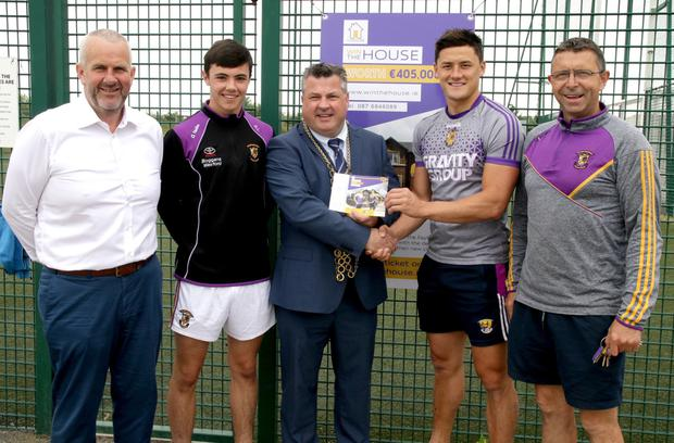 Anthony Neville, Minor hurling captain Richie Lawlor, Mayor George Lawlor, Senior hurling's Lee Chin and Larry O'Gorman officially launch the 'Win the House' fundraiser at the Faythe Harriers clubhouse