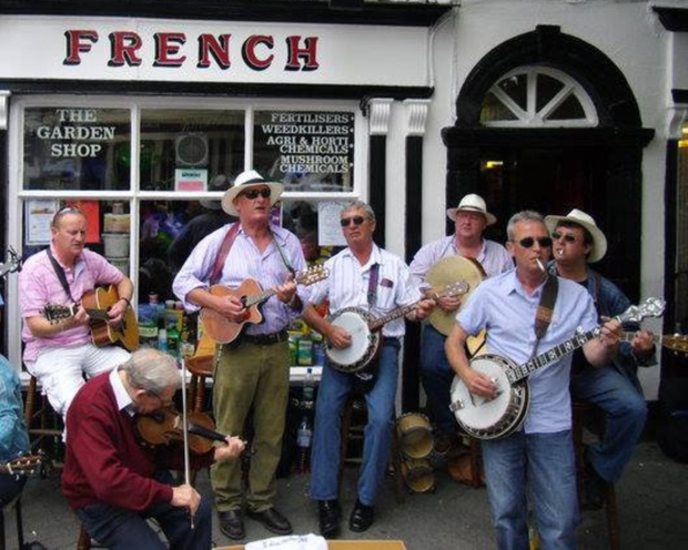 The Busking Gorey in action outside French's