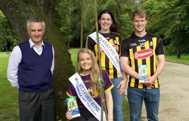 Emma with Jim Bolger, Kilkenny Rose Clodagh Cassin and Shane Walsh at the launch of Hurling for Cancer Research