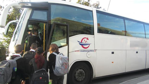 Students in Ballygarrett boarding a bus last Wednesday for Creagh College