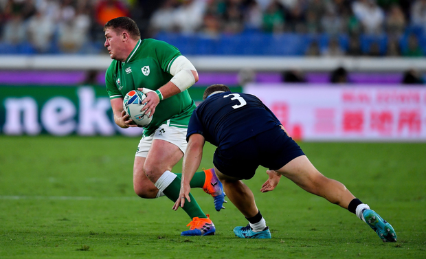 Tadhg Furlong in action against Willem Nel of Scotland during Sunday's Rugby World Cup Pool A match in Yokohama, Japan
