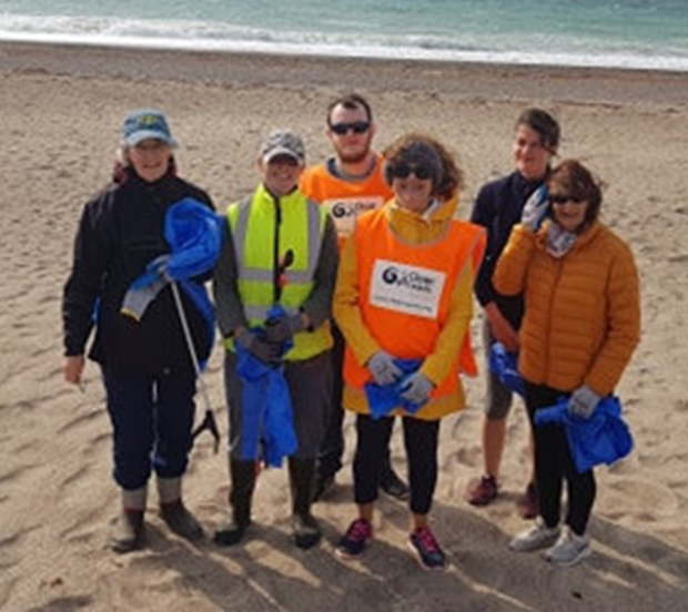 Volunteers taking part in Seal Rescue Ireland's Big Beach Clean in Courtown. From left: May and Karen Doyle, Jac, Janet and Shannon Devereux with Rosemarie Morris who took part in a beach clean at Rostoonstown, Wexford