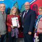 Pictured,from left, are: Frank Gethings; Mary Gethings (highly commended SuperValu community hero); Des O'Mahony (Marketing Director, SuperValu), and Kathleen Denby
