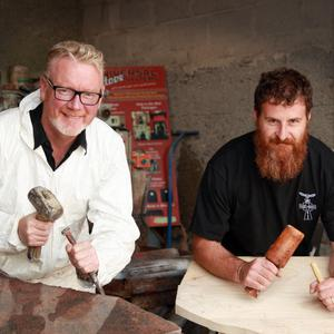 Stone sculptor Ronan Redmond and wood carver Stephen Sheridan