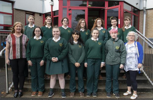 Presentation Secondary School Junior Tidy Towns Committee with teacher Vera Whelan and Phil Murphy of Wexford Tidy Towns
