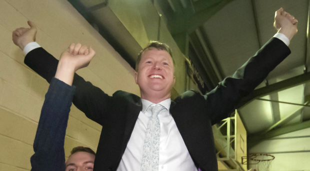 Who's the man: Fianna Fáil's Malcolm Byrne is lifted shoulder high by delighted supporters after being declared elected at the Wexford Count Centre on Saturday evening