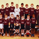 Winners from Bunscoil Loreto at the FAI Futsal competition in Craanford with their teachers, Alan Cowman and John Lyons