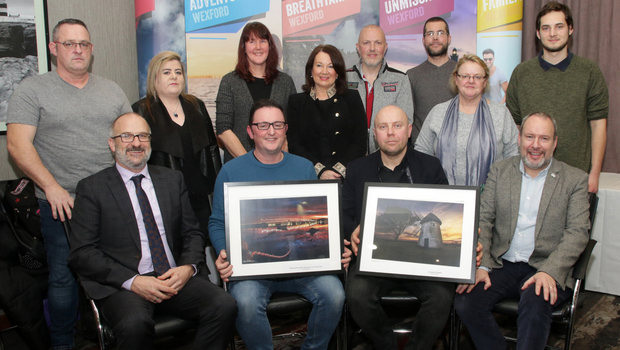 At the prizegiving for the Visit Wexford photographic competition in Clayton Whites Hotel (from left) back, Graham Murphy, Sarah Sinnott, Carol Hughes, Betty O'Brien, Royston Palmer (3rd), Aaron O'Reilly, Mary Mangru and Adrian Antos; front, Colm Neville (Visit Wexford Chairman), Lee Robinson (2nd), Michael Mroz (winner) and Billy Dunne (Wexford County Council)