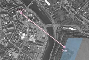 The route for the proposed cable car from the Turret Rocks (0m) to Enniscorthy Castle (350m)