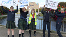 Colaiste Bride transition year students held at Climate Change protest on Enniscorthy Bridge
