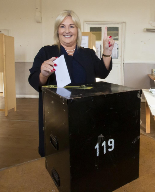 Verona Murphy voting in the by-election